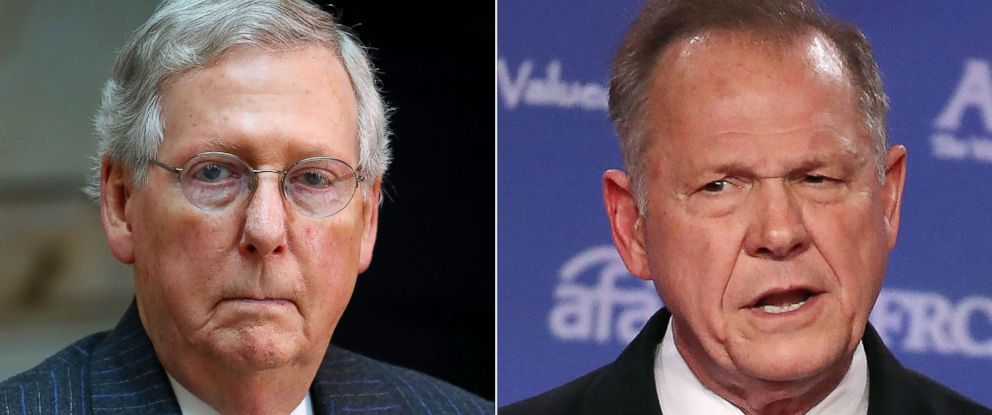 PHOTO: Mitch McConnell (R-KY) is seen at a ceremony in Washington DC, Nov. 8, 2017 and Roy Moore speaks at a summit on Oct. 13, 201 in Washington DC.