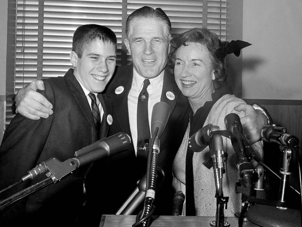 PHOTO: American politican George W. Romney (1907-1995), announces his intention to run for governor of Michigan, with his son Mitt and his wife Lenore, Feb. 10, 1962.