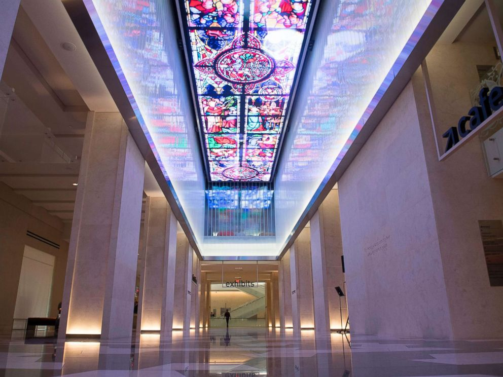 PHOTO: A digital screen is seen running the length of the museum lobbys ceiling during a media preview of the new Museum of the Bible, a museum dedicated to the history, narrative and impact of the Bible, in Washington, Nov. 14, 2017.