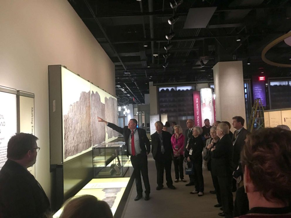 PHOTO: Visitors tour the History of the Bible exhibit, in Washington.