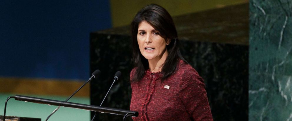 PHOTO: U.S. Ambassador to the United Nations Nikki Haley speaks at the U.N. General Assembly, Dec. 21, 2017, at United Nations headquarters in New York.