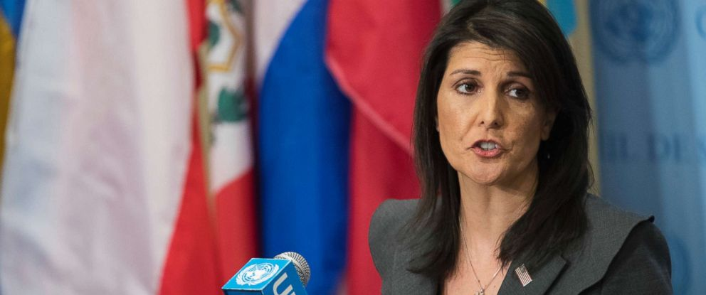 PHOTO: United States Ambassador to the United Nations Nikki Haley speaks to reporters, Jan. 2, 2018, at United Nations headquarters.