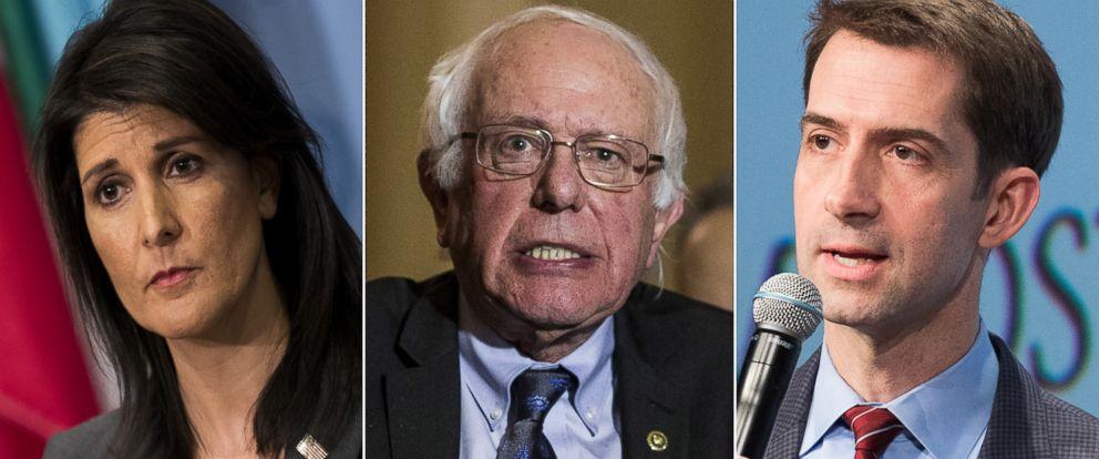 PHOTO: Pictured (L-R) are U.S. Ambassador to the United Nations Nikki Haley, Senator Bernie Sanders and Sen.Tom Cotton.