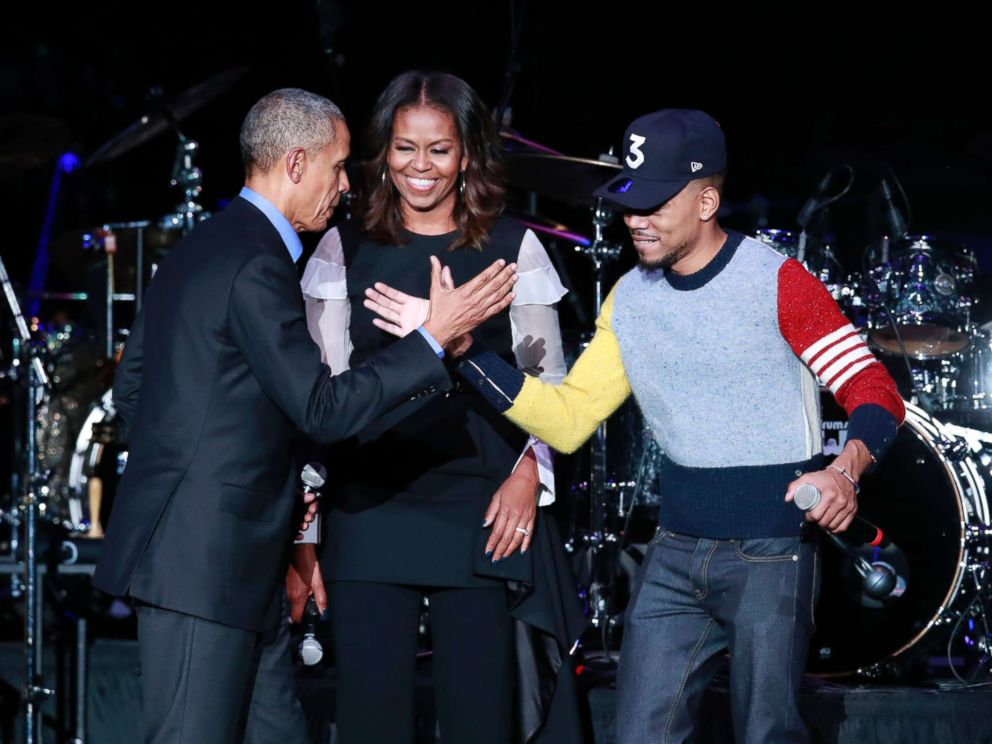 PHOTO: Chance the Rapper, with former President Barack Obama and Michelle Obama at Wintrust Arena in Chicago on Nov. 1, 2017.
