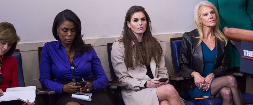 PHOTO: Omarosa Manigault, Hope Hicks and Kellyanne Conway attend a daily press briefing in the James Brady Press Briefing Room at the White House, Jan. 24, 2017 in Washington.