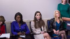 'PHOTO: Omarosa Manigault, Hope Hicks and Kellyanne Conway attend a daily press briefing in the James Brady Press Briefing Room1_b@b_1the White House, Jan. 24, 2017 in Washington.' from the web at 'http://a.abcnews.com/images/Politics/omarosa-manigault-white-house-01-gty-jc-171214_16x9t_240.jpg'