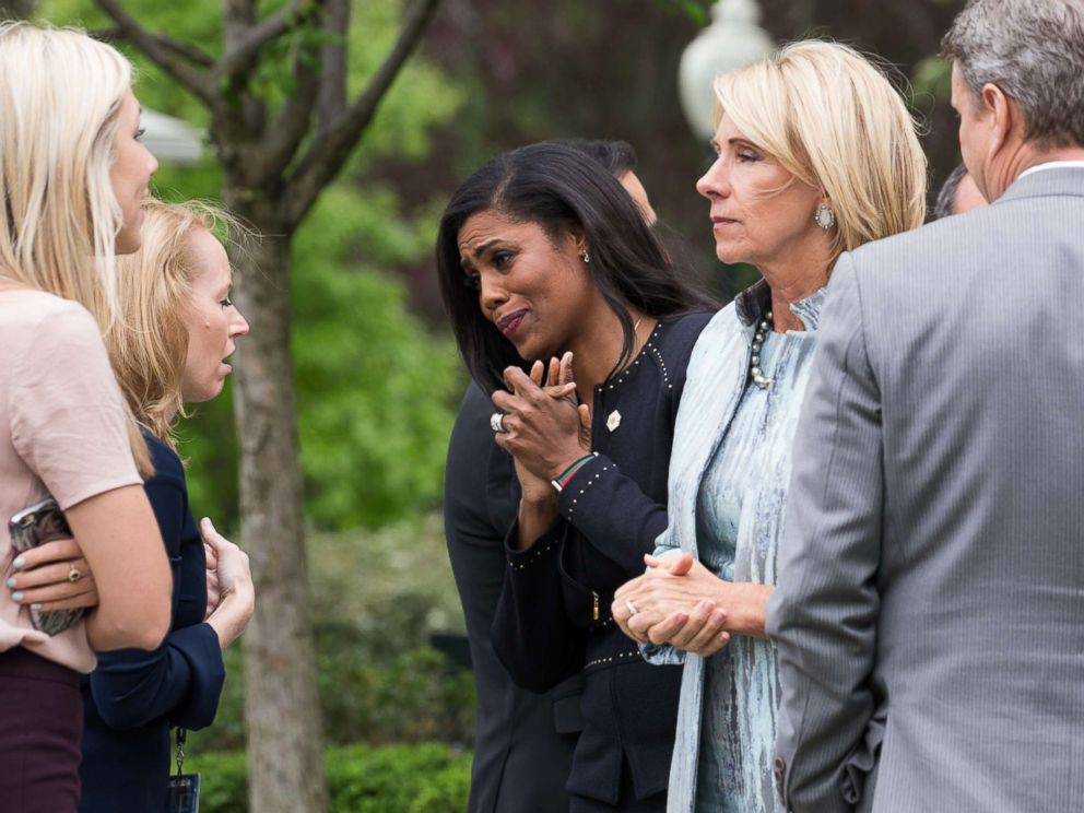PHOTO: Omarosa Manigault speaks to attendees at President Trumps press conference with members of the GOP on the passage of legislation to roll back the Affordable Care Act in the Rose Garden of the White House, May 4, 2017.
