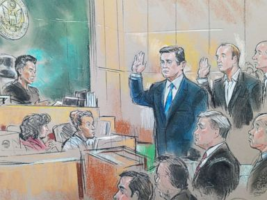 PHOTO: Paul Manafort and Rick Gates appear in federal court with U.S. District Magistrate Judge Deborah Robinson, Oct. 30, 2017.