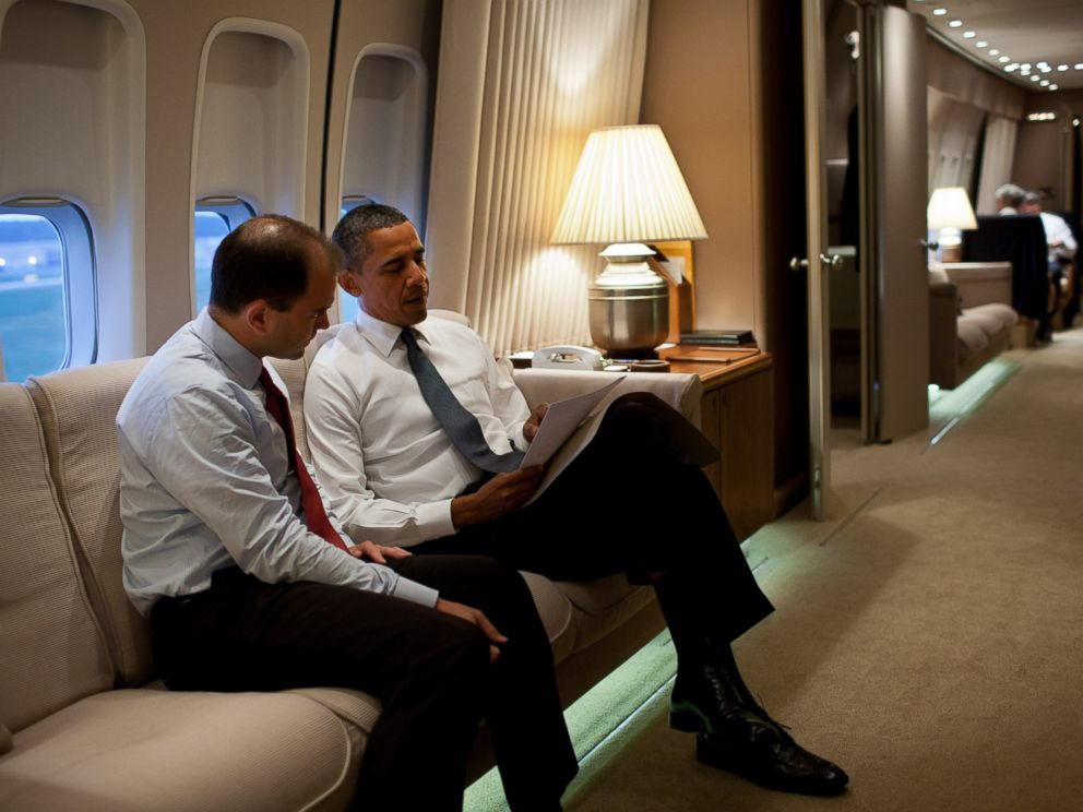 PHOTO: President Barack Obama talks with Ben Rhodes, Deputy National Security Advisor for Strategic Communications, aboard Air Force One en route to New York, N.Y., to commemorate the tenth anniversary of the 9/11 attacks against the United States.