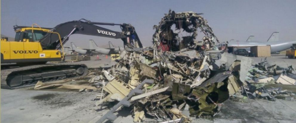 PHOTO: This image was included in a letter to the Secretary of the Air Force showing a G222 shredded for scrap, Kabul, Afghanistan, Aug. 2014.