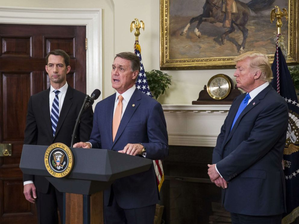 PHOTO: Sen. David Perdue (R-GA) makes an announcement on the introduction of the Reforming American Immigration for a Strong Economy (RAISE) Act in the Roosevelt Room at the White House, Aug. 2, 2017.