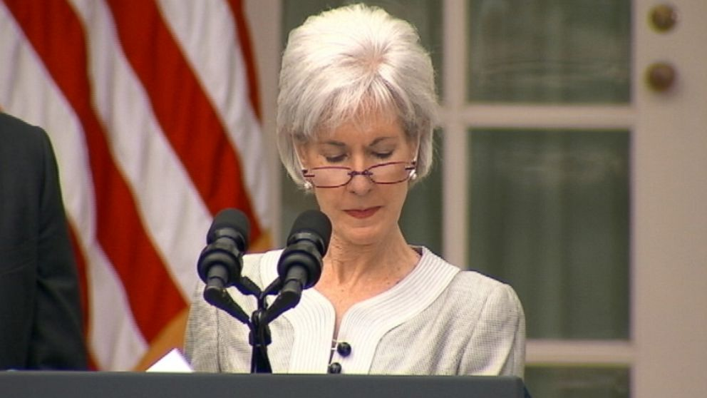 The departing Health Secretary realizes a page of her speech is missing during Rose Garden speech.