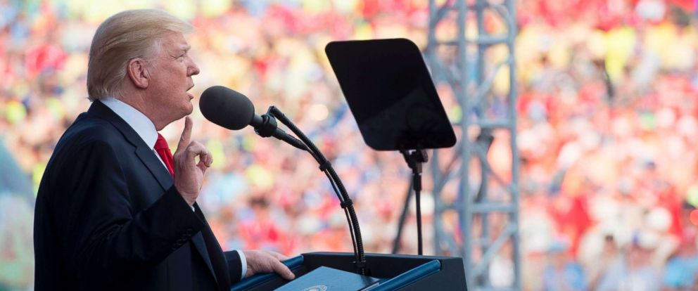 PHOTO: President Donald Trump speaks during the National Boy Scout Jamboree at Summit Bechtel National Scout Reserve in Glen Jean, West Virginia, July 24, 2017.