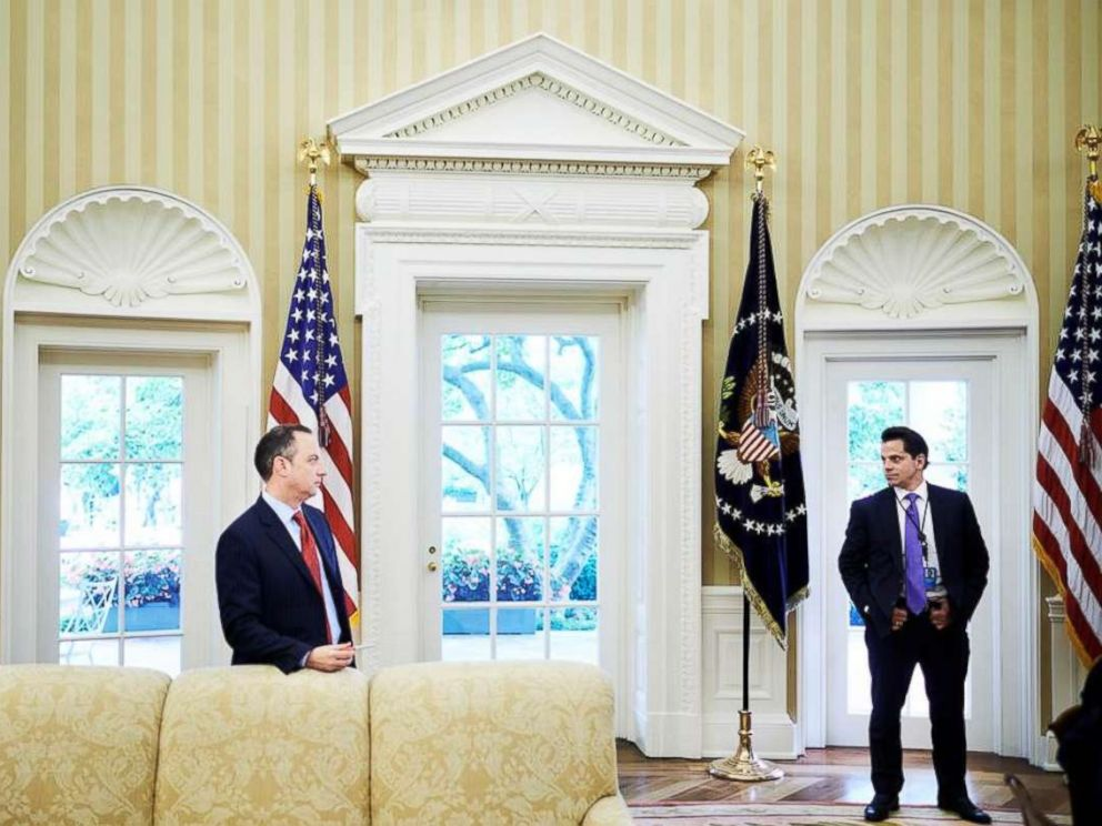 PHOTO: Reince Priebus, the Chief of Staff, and White House Communications Director Anthony Scaramucci in the Oval Office on July 27, 2017.