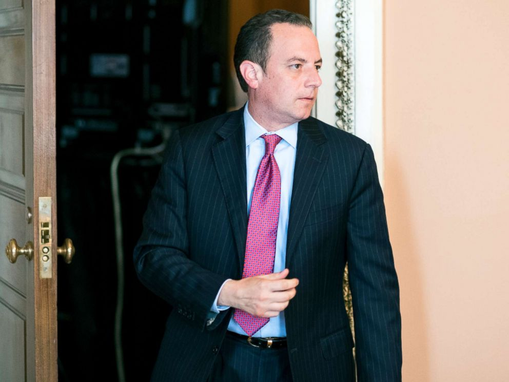 PHOTO: Reince Priebus, chief of staff for President Donald Trump, leaves the Senate Republicans policy lunch in the Capitol, June 27, 2017.