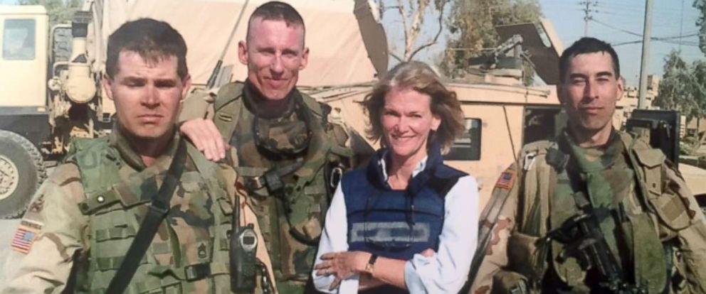 PHOTO: SFC Jerry Swope, battalion commander LTC Gary Volesky, ABC News correspondent Martha Raddatz, Lt. Shane Aguero, from left to right, in Sadr City, Baghdad, Iraq in the summer of 2004.