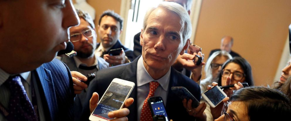 PHOTO: Sen. Rob Portman speaks to reporters after a meeting about the Republican Tax Reform package on Capitol Hill in Washington, Nov. 9, 2017.