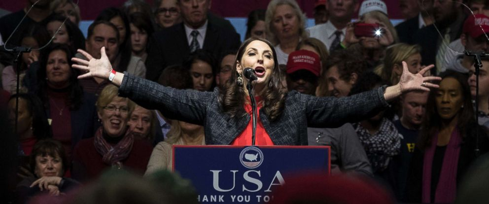PHOTO: Michigan Republican Party Chair Ronna Romney McDaniel speaks before President-elect Donald Trump at the DeltaPlex Arena in this Dec. 9, 2016 file photo in Grand Rapids, Mich.
