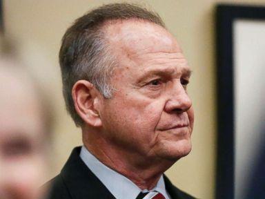 PHOTO: Former Alabama Chief Justice and U.S. Senate candidate Roy Moore waits to speak the Vestavia Hills Public library, Nov. 11, 2017, in Birmingham, Ala.