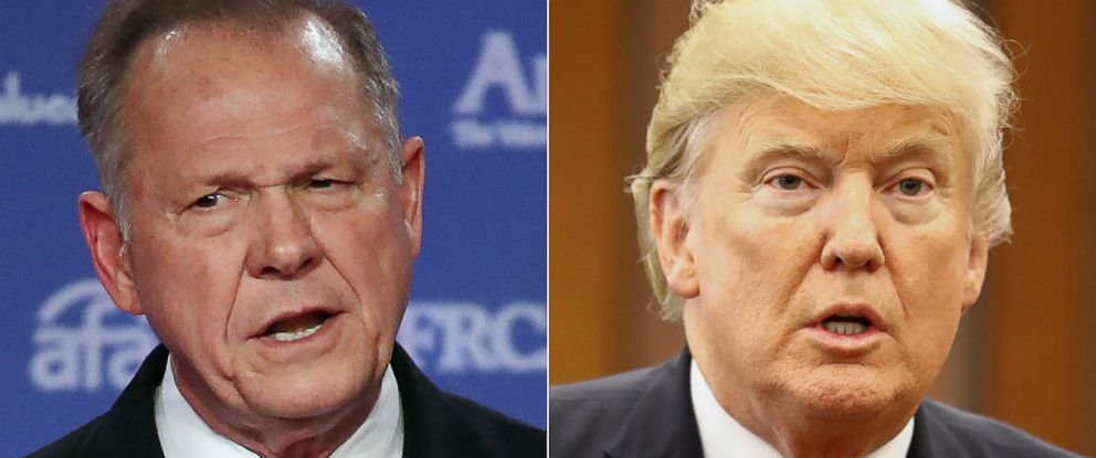 PHOTO: Roy Moore, GOP Senate candidate speaks Oct. 13, 2017 in Washington, DC. and President Donald Trump speaks in Manila on Nov. 13, 2017.