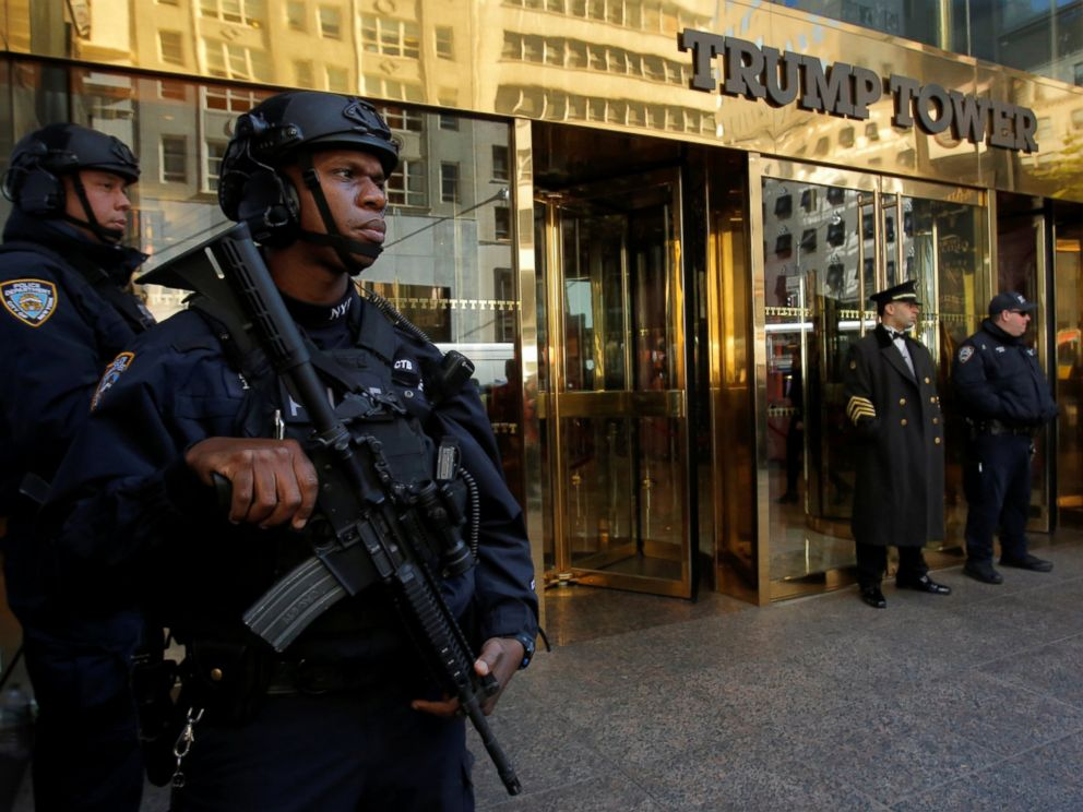 PHOTO: Members of the New York Police Departments Counterterrorism Bureau stand watch outside U.S. Republican presidential nominee Donald Trumps Trump Tower ahead of the U.S. presidential election in Manhattan, New York, U.S., Nov. 7, 2016.
