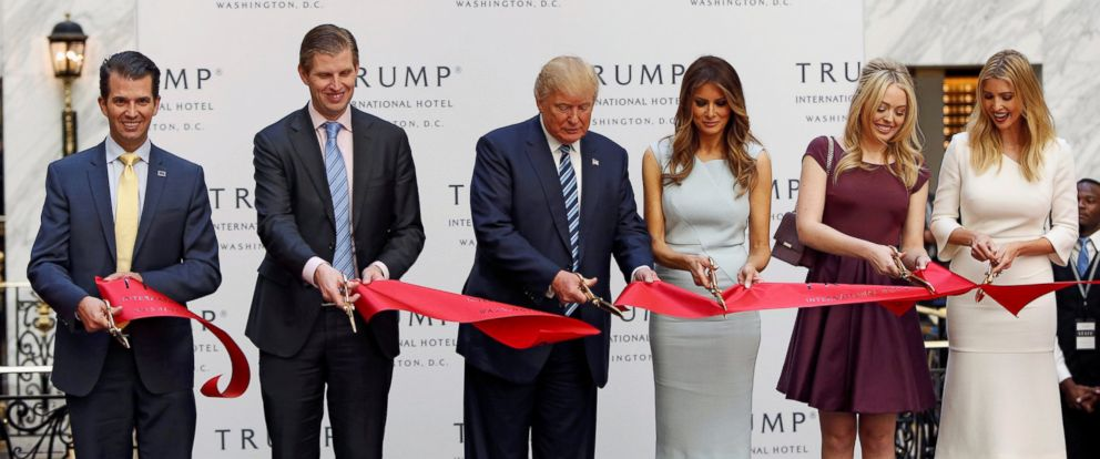 PHOTO: Donald Trump Jr., Eric Trump, Republican presidential nominee Donald Trump, Melania Trump, Tiffany Trump and Ivanka Trump attend an official ribbon cutting ceremony at the new Trump International Hotel in Washington, Oct. 26, 2016.