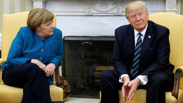 PHOTO: President Donald Trump meets with German Chancellor Angela Merkel for the first time at the White House, March 17, 2017.