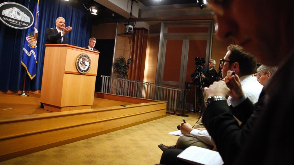 PHOTO: U.S. Attorney General Eric Holder addresses reporters at a news conference at the Justice Department in Washington, D.C. on May 14, 2013.