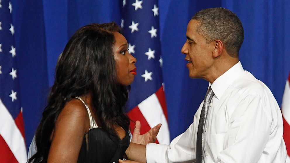 PHOTO: President Barack Obama is greeted by singer Jennifer Hudson at a Democratic National Committee event at the Aragon Entertainment Center in Chicago, in this Aug. 3, 2