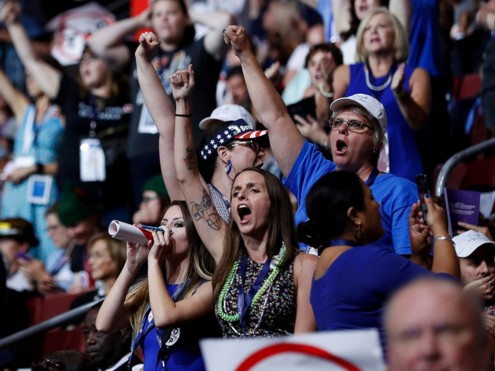 PHOTO: Supporters of Senator Bernie Sanders chant his name as they protest on the floor during the first day of the Democratic National Convention in Philadelphia,  July 25, 2016.