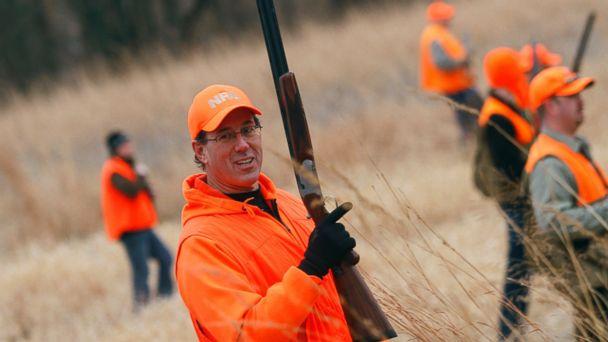 PHOTO: Republican presidential candidate and former Pennsylvania Sen. Rick Santorum looks on during pheasant hunting in Adel, Iowa, Dec. 26, 2011.