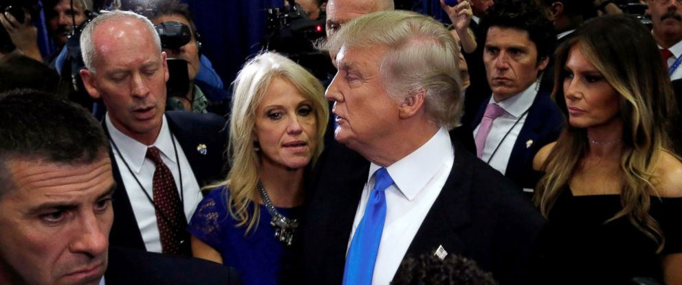 PHOTO: Donald Trump talks to campaign manager Kellyanne Conway in the spin room after his first debate against Hillary Clinton at Hofstra University in Hempstead, New York, Sept. 26, 2016.