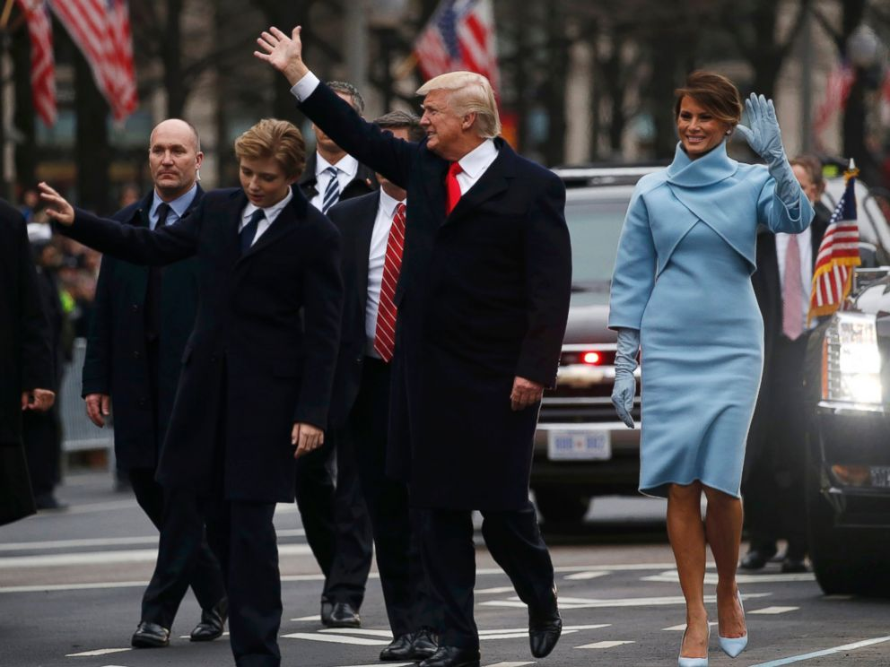 PHOTO: President Donald Trump and First Lady Melania Trump walk along Pennsylvania Avenue during the inaugural parade from the U.S. Capitol in Washington, Jan. 20, 2017.
