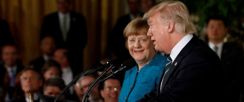 PHOTO: Germanys Chancellor Angela Merkel and President Donald Trump hold a joint news conference in the East Room of the White House in Washington, March 17, 2017.