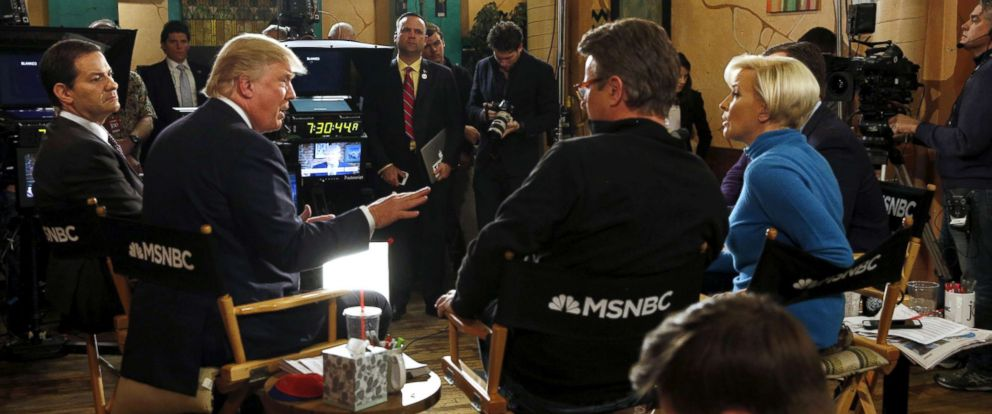"""PHOTO: Then-Republican presidential candidate Donald Trump talks to Joe Scarborough during an appearance on MSNBCs """"Morning Joe"""" show at Java Joes CoffeeHouse in Des Moines, Iowa, Jan. 15, 2016."""