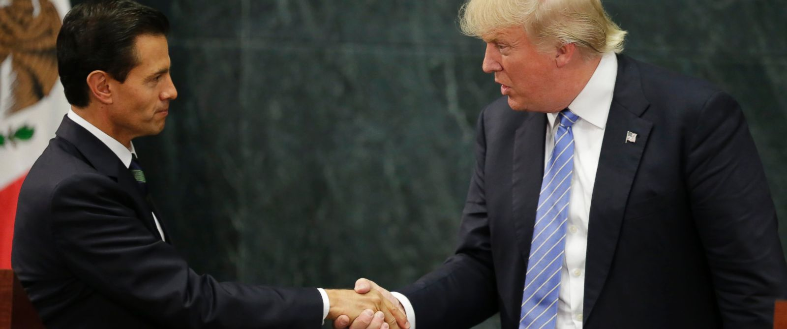 PHOTO: Then-presidential nominee Donald Trump and Mexicos President Enrique Pena Nieto shake hands at a press conference at the Los Pinos residence in Mexico City, Mexico, Aug. 31, 2016.