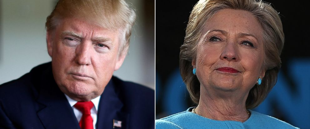 PHOTO: Donald Trump is interviewed in Miami, Oct. 25, 2016 and Hillary Clinton appears at a rally in New Hampshire, Oct. 24, 2016.