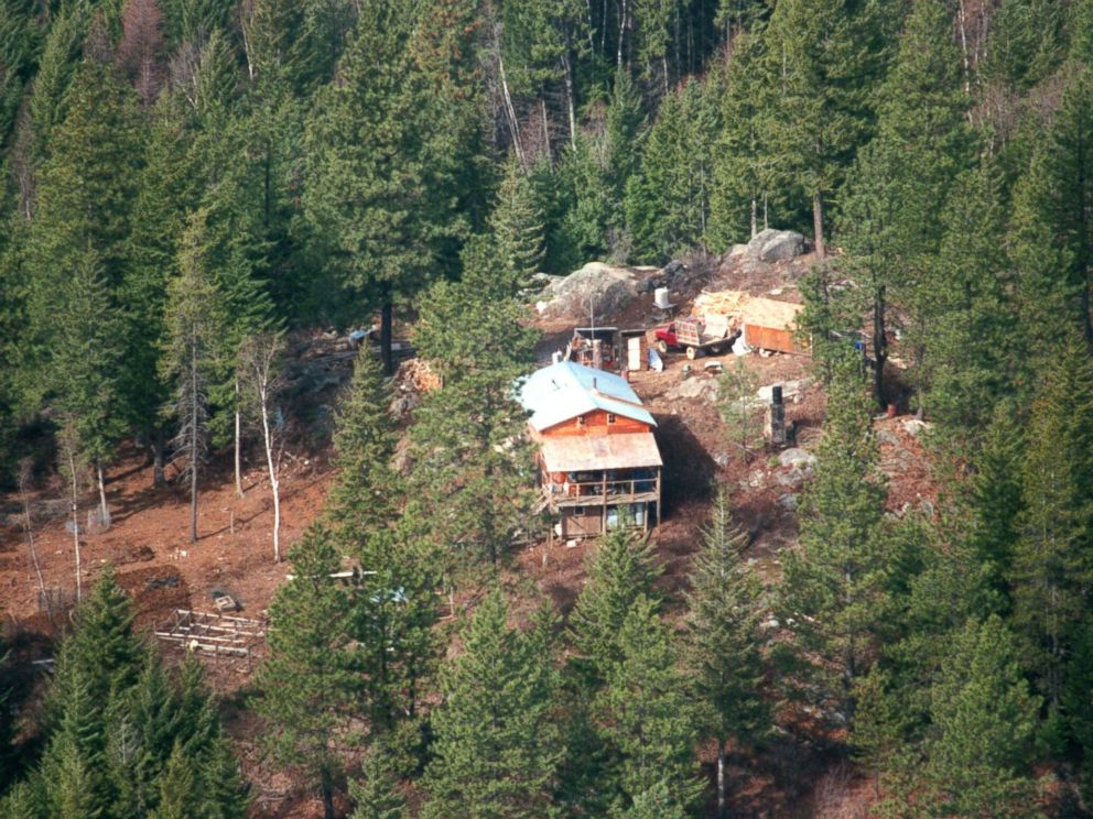 PHOTO: This photo taken March 1992 shows an aerial view of the cabin of Randy Weaver and his family on Ruby Ridge in North Idaho.