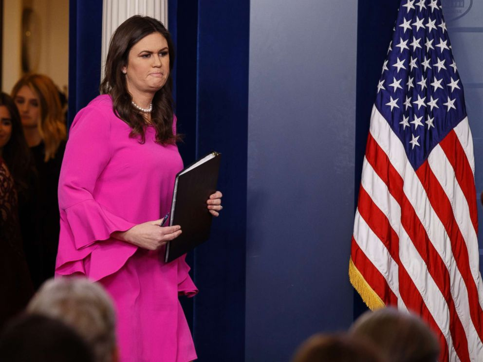PHOTO: White House press secretary Sarah Huckabee Sanders arrives for the daily press briefing, Oct. 30, 2017, in Washington.