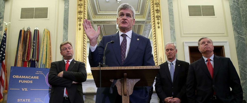 PHOTO: Sen. Bill Cassidy speaks as Sen. Dean Heller, Sen. Ron Johnson and Sen. Lindsey Graham listen during a news conference on healthcare, Sept. 13, 2017, in Washington.