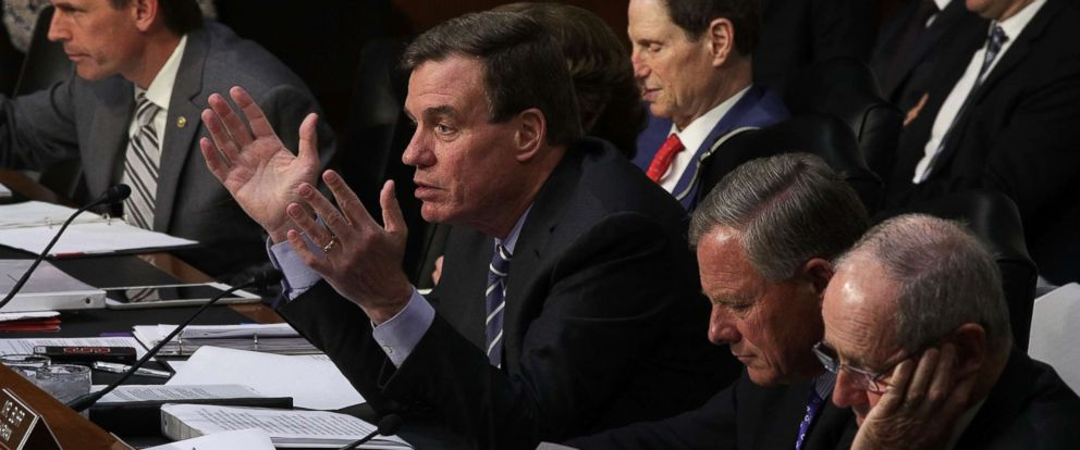 PHOTO: Vice Chairman Sen. Mark Warner (D-VA) (2nd L) speaks as Chairman Sen. Richard Burr (R-NC) (2nd R) and other members listen during a hearing before the Senate (Select) Intelligence Committee, June 21, 2017, on Capitol Hill.