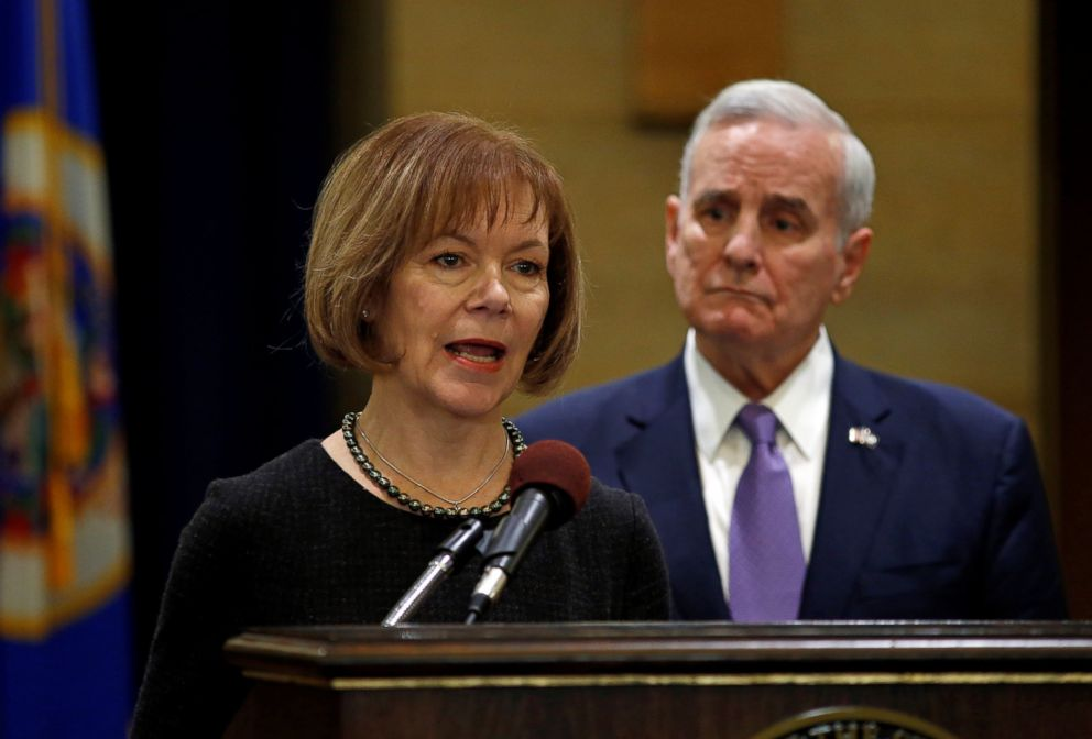 PHOTO: Minnesota Lieutenant Governor Tina Smith answers a question, Dec. 13, 2017, after Minnesota Governor Mark Dayton, right, announced that Smith will replace U.S. Senator Al Franken.