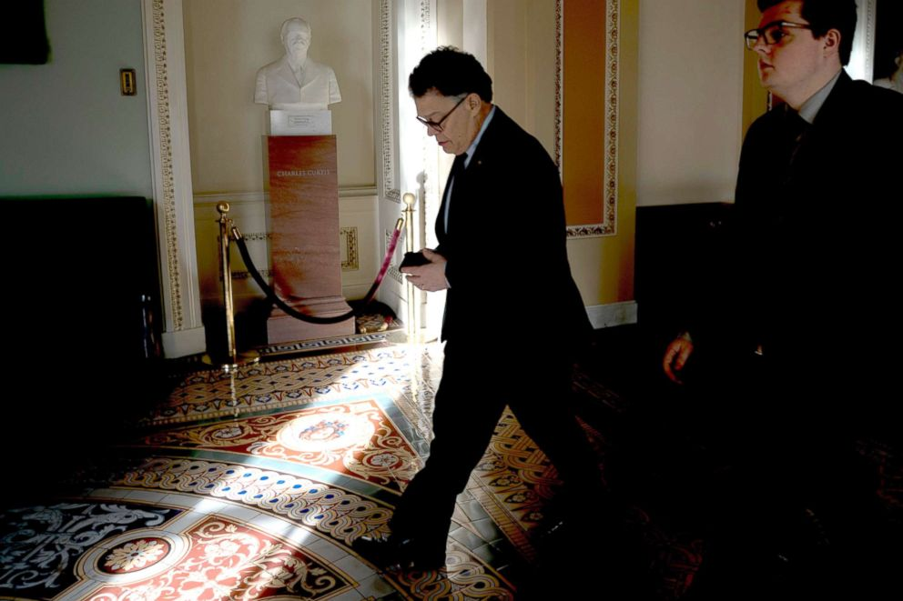 PHOTO: Sen. Al Franken, leaves a luncheon at the Capitol in Washington, D.C.,Dec. 21, 2017. Franken plans to officially leave the U.S. Senate on Jan. 2, 2018.
