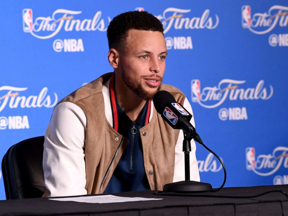 PHOTO: Stephen Curry #30 of the Golden State Warriors speaks at a postgame press conference following their 132-113 win over the Cleveland Cavaliers in Game 2 of the 2017 NBA Finals at ORACLE Arena, June 4, 2017 in Oakland, Calif.