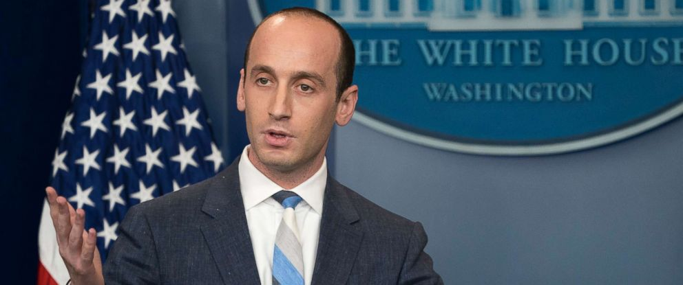 PHOTO: Senior Advisor for Policy to President Trump Stephen Miller responds to questions on the Trump administrations immigration policy announced today during the daily press briefing at the White House in Washington, D.C., Aug. 2, 2017.