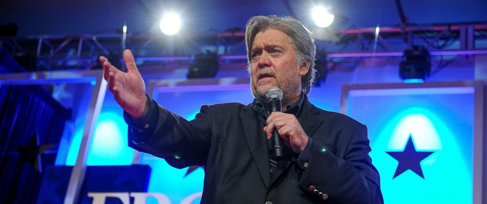 PHOTO: Former White House Chief Strategist Steve Bannon delivers remarks during the Value Voters Summit at the Omni Shoreham Hotel in Washington, D.C., Oct. 14, 2017.