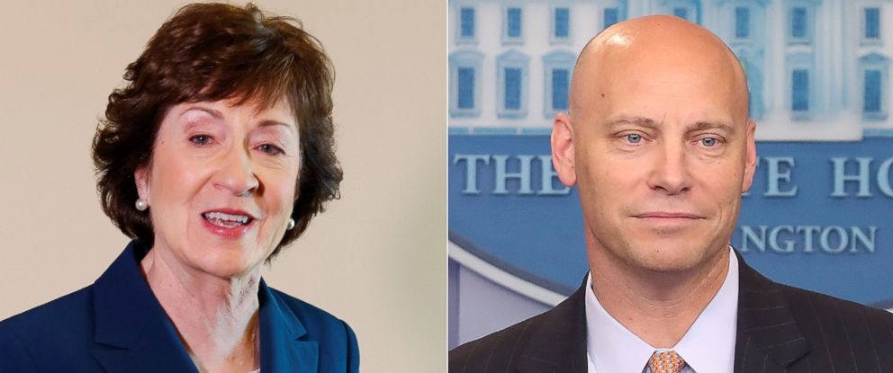PHOTO: Pictured (L-R) are Sen. Susan Collins in Rockport, Maine, Oct. 13, 2017 and White House legislative director Marc Short in Washington, D.C., July 19, 2017.
