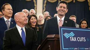'PHOTO: Speaker of the House Paul Ryan, joined by, from left, Rep. Vern Buchanan, House Ways and Means Committee Chairman Kevin Brady, and Rep. Kristi Noem, unveil the GOP's tax overhaul on Capitol Hill in Washington, D.C., Nov. 2, 2017.' from the web at 'http://a.abcnews.com/images/Politics/tax-plan-gop-ap-ps-171102_16x9t_384.jpg'