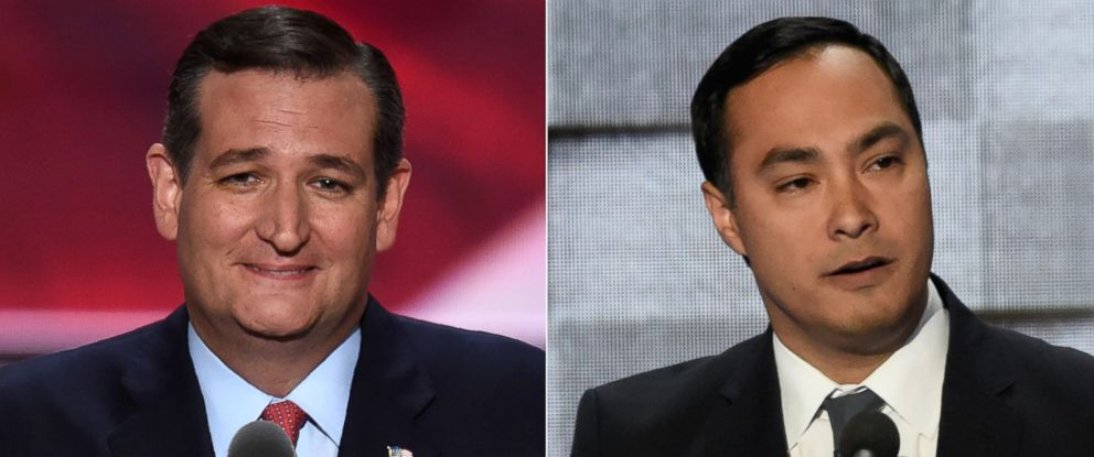 PHOTO: (L-R) Sen. Ted Cruz in Cleveland, July 20, 2016 and Joaquin Castro in Philadelphia, July 28, 2016.