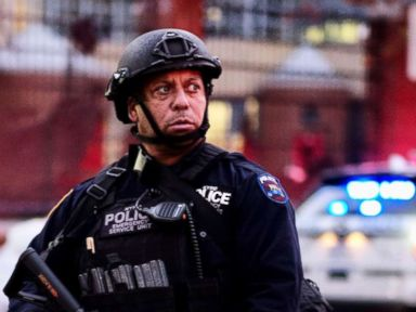 PHOTO: Police officers stand guard near the site of an attack in lower Manhattan, near the World Trade Center, in which eight people were killed and a dozen more injured, Oct. 31, 2017, in New York City.